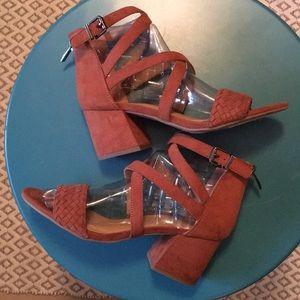 Gorgeous suede Franco Sarto block heels